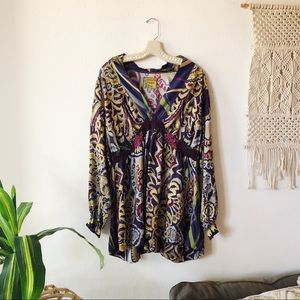 Johnny Was Collection Empire-Waist Silk Blouse 1X